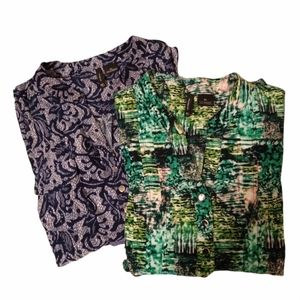Lot of 2 NEW DIRECTIONS Silky Prt TOPS XL
